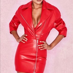 House of CB Georgia red leather dress